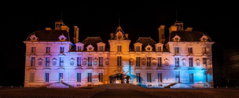 Chateau de Cheverny at night Loire Valley, France