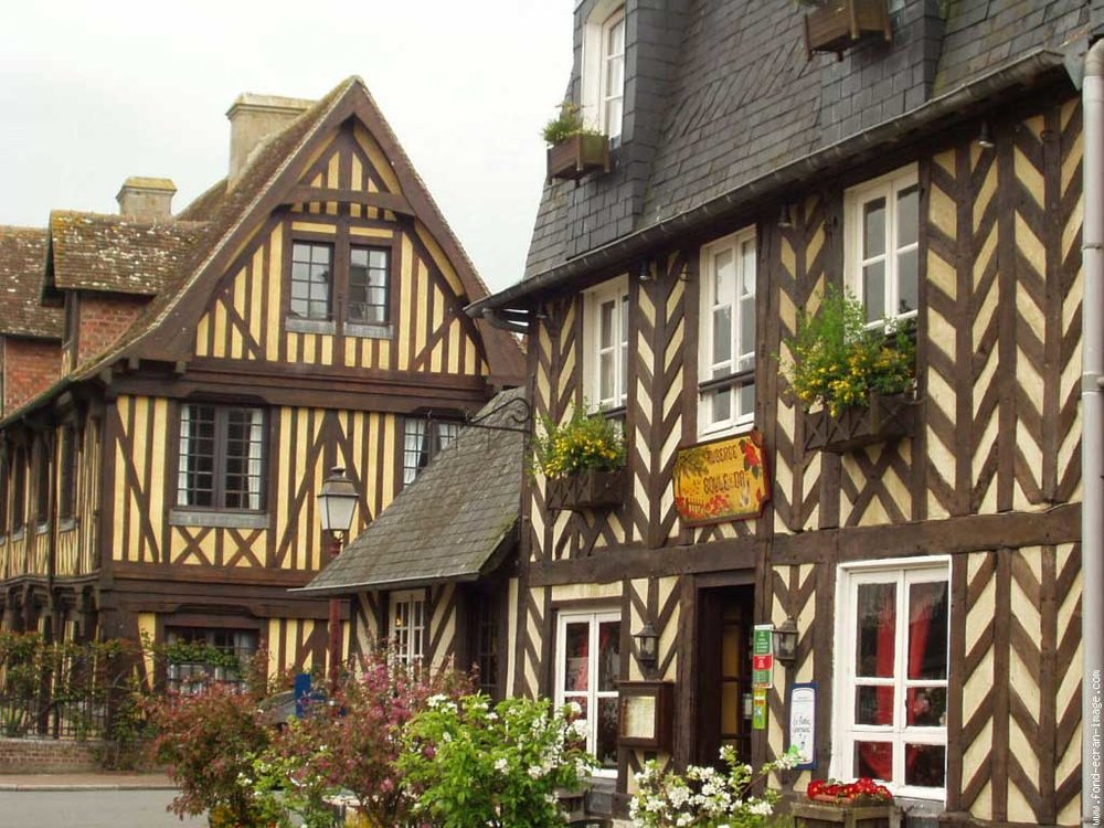 Copy of Half-timbered houses in Normandy, France