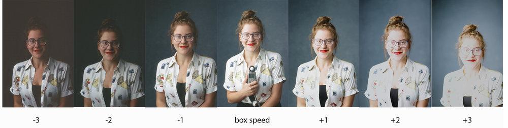 Ektachrome Exposure Test on gray/blue backdrop by Sandra Coan