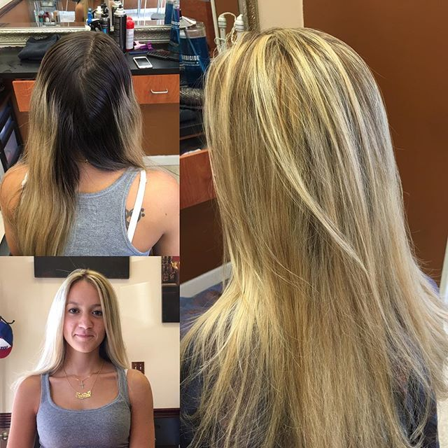 Heavy highlighting done on this client to reach her blonde goal, she wanted to be very blonde👌🏻💇🏼😎 before & after. Color, cut & blow done by fran at our annadale location. Call or walkin for an appt !