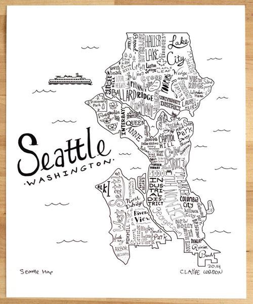 Seattle Washington Art Print 8 X 10 Claire Lordon Design