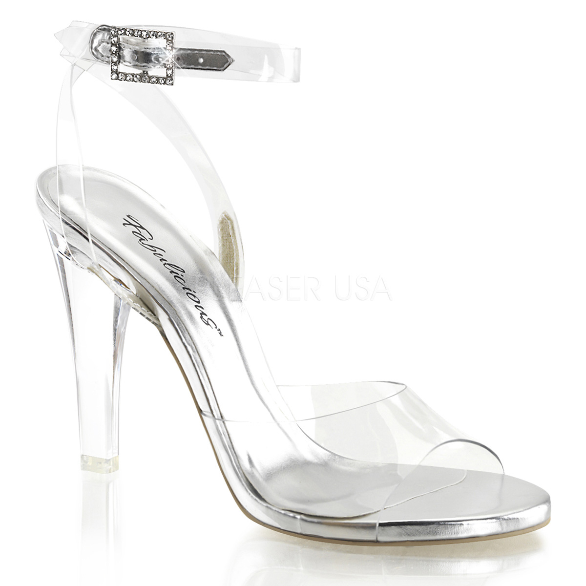 """4.5/"""" Clear Fitness Figure Competition Heels Shoes with Ankle Strap Womans sizes"""