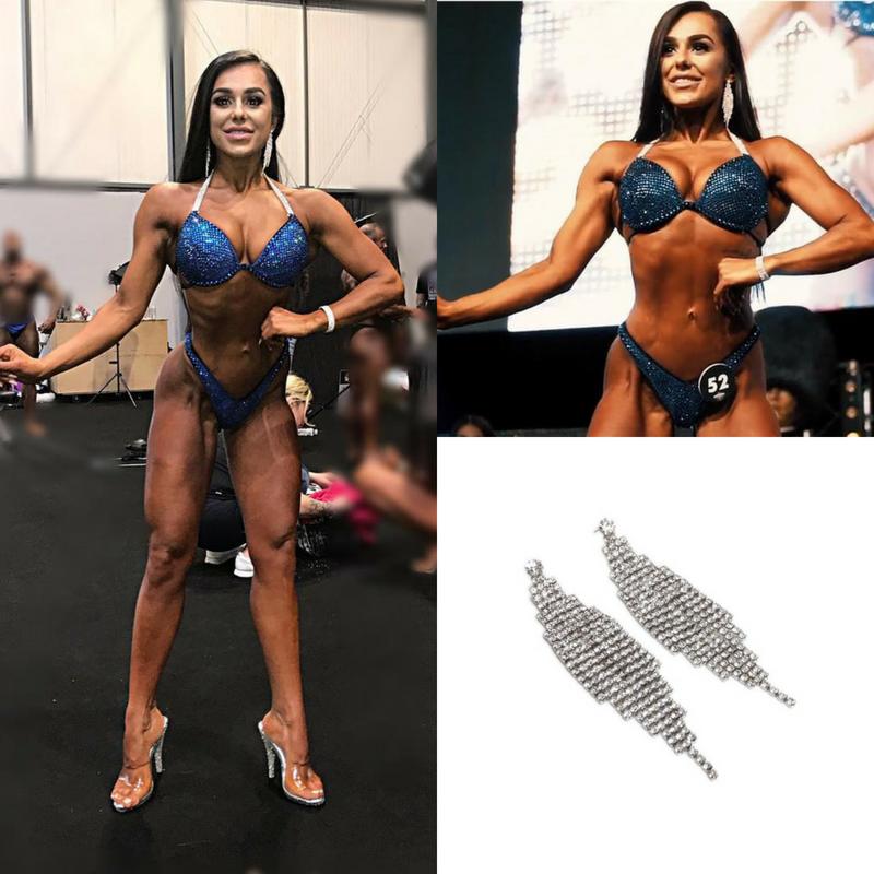 Parisa Tavakoli - KOMPAK Athlete wearing Harriet earrings at the PCA Bodypower Series Pro Bikini Short.