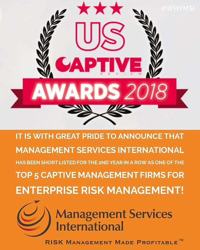 We are proud to announce that @themsicorp has been short-listed for the second year in a row as one of the #Top5 Captive Management firms for Enterprise Risk Management! Thank you to all of our clients, advisors, and everyone's support! . . . . . #CaptiveInsurance #Insurance #risk #riskMGMT #WhyMSI #riskmanagement #insurancenews #business