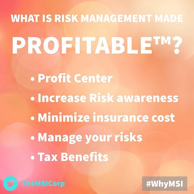 Our motto, RISK Management Made Profitable™, is made up of several critical elements. They are: 💰 Profit center 📈 Increased risk awareness 📉 Minimized insurance cost 🔵 Managed risks ✅ Tax benefits - Tags: #CaptiveInsurance #insurance #risk #riskmanagement #riskmgmt #WhyMSI #insurancenews #business #finance #professionalservices #tax #taxlaw #taxes #risksolutions #privateinsurance #cic #nccia #IRS #smallbusiness #management