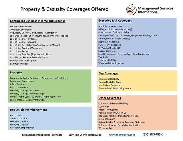 Wondering which Property & Casualty coverages MSI has to offer? Wonder no more. - Tags: #CaptiveInsurance #insurance #risk #riskmanagement #riskmgmt #WhyMSI #insurancenews #business #finance #professionalservices #tax #taxlaw #taxes #risksolutions #privateinsurance #cic #nccia #IRS #smallbusiness #management