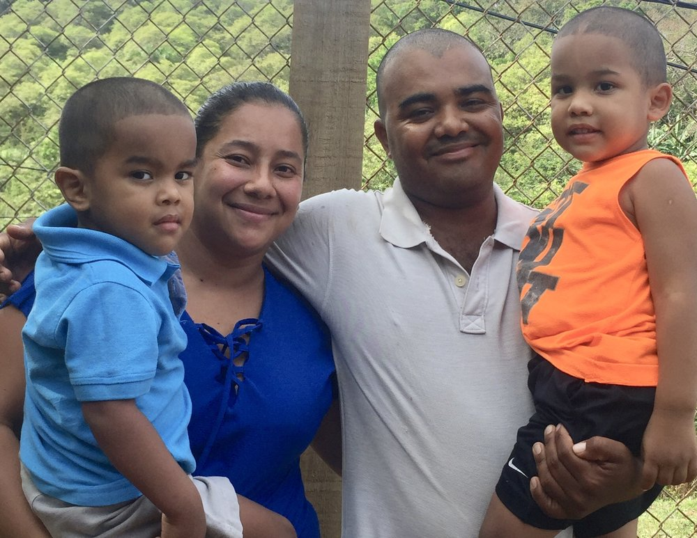 The Landaverde Funez Family - Erica (32) and Eduar (29) met 10 years ago. They have two cute children named Eduar Jr., (4) and Jorge, (3). Erica grew up with her mom and her 3 siblings. Erica's mom had a small convenience store in the town they lived in. Erica was able to finish her studies up to 12th grade. After graduating from high school Erica married Eduar. Once she married Eduar, she started working at a clothing store. She worked for five years until she got pregnant with her first baby. Eduar was raised by his mom as his dad passed away when he was just 8 years old. Eduar had a harder childhood. He grew up selling tortillas, tamales, pasteles or anything his mom cooked. His mom had to work very hard so she could support Eduar and her 12 other children by herself. Currently, Eduar works at a zip-line company in the maintenance area. Eduar and Erica's biggest dream is to work as hard as they can, so their children can have a decent life with the best education, best jobs and the best opportunities.