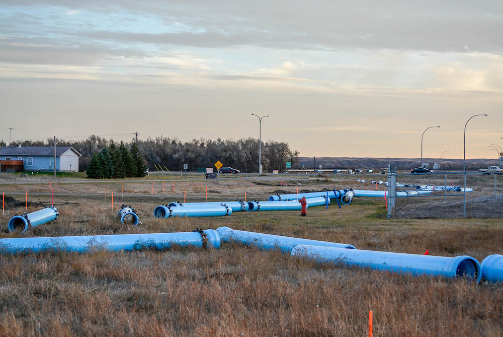 Pipeline components littering the side of the road on the drive to Standing Rock.