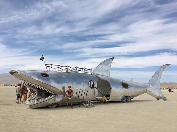 A massive, hopefully-not-to-scale Art Car of a shark. Photo credit: Matt Savoca