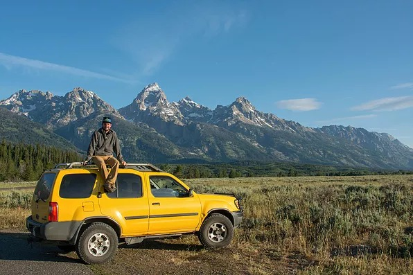 Posing in front of the Grand Tetons, Wyoming.
