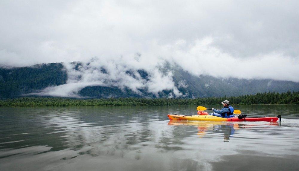 Kayaking Mendenhall Lake. PC: Derek Bedwell