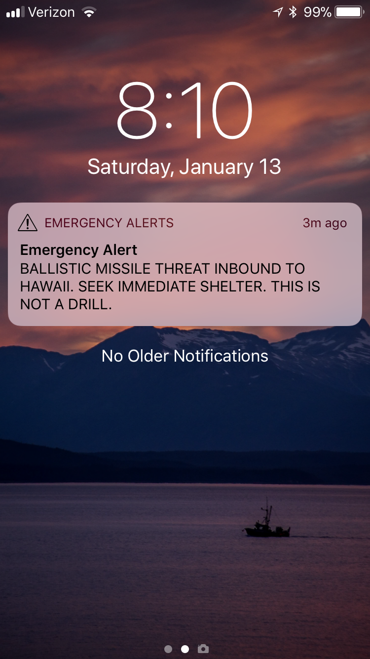 A screenshot of the alert I received