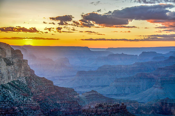 Sunset behind the Grand Canyon