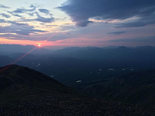 The sun setting—around midnight
