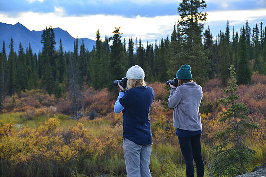 Margot & Caitlin, photographing the autumn colors off the Denali Highway