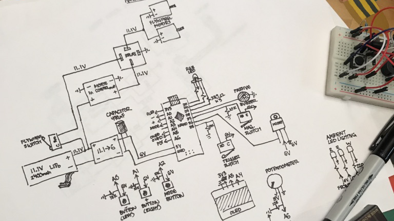 Wiring diagram - In order to record the circuit for the blaster, a wiring diagram was needed. Although this is not the most formal diagram, it was useful using representations that reflected the blaster instead of conventional circuit symbols.