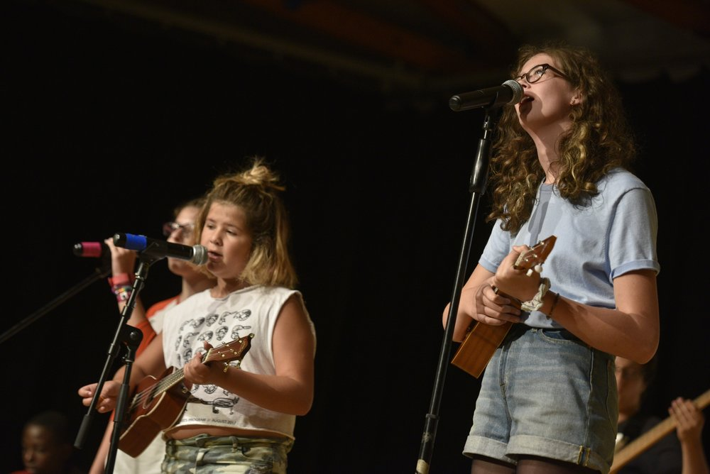 Daily performance opportunities. - Noontime Shows are a daily celebration of the talents and creativity of the entire community. Campers perform for an engaged and supportive audience.Guest artists like James Taylor, Yo-Yo Ma, Tracy Chapman, Matt & Kim, and William Hurt bring their insight and talent, collaborating and performing with campers and sharing their unique experience.
