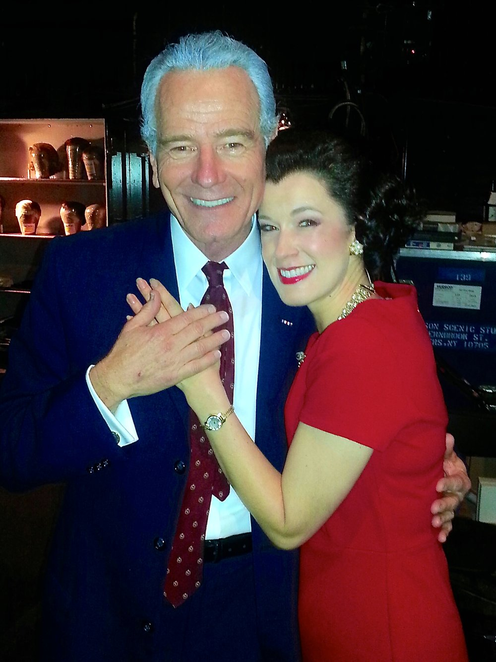 Backstage with Bryan Cranston as his Lady Bird in  All The Way  at the Neil Simon Theatre on Broadway