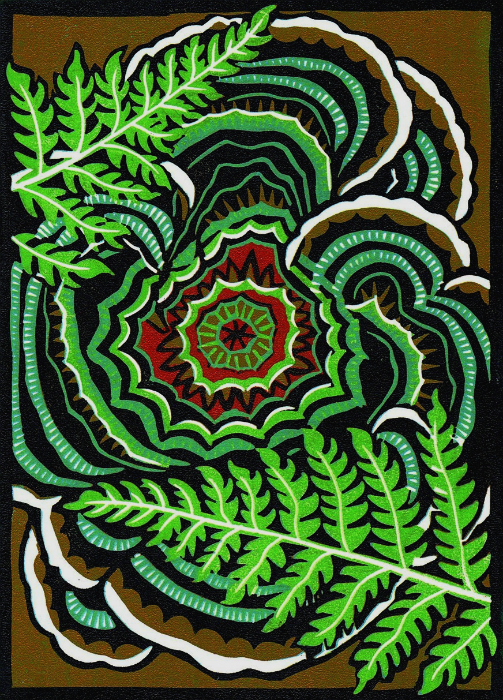Turkey Tail Bracket with Ferns