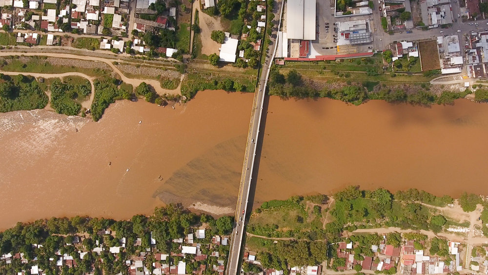 The river, the body of the border between Guatemala and Mexico