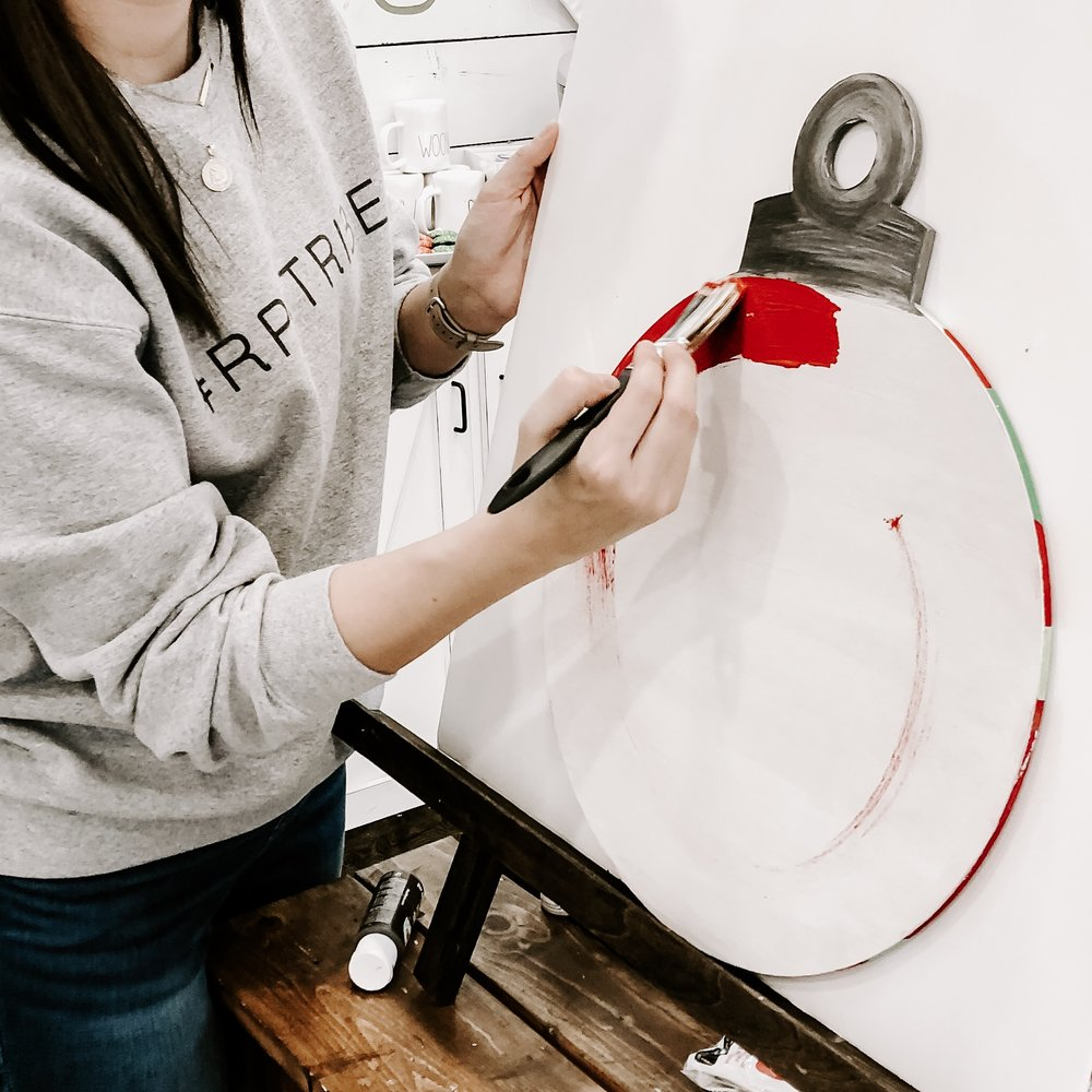 Apply your base coat color with circular shapes so that any strokes will allow for a circular dimension to your ornament.