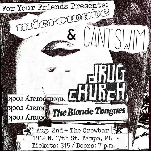 Hometown show tonight with @cantswim_ @microwaveatl & @drugchurch! Doors at 7pm!