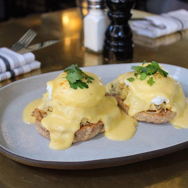 Crab Cake Benedict makes an appearance this Mother's Day, along with a Make Your Own Mimosa Kit. Reserve your table @resy. #bestgirldtla #mothersday