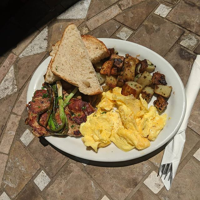 #pork and #eggs for #breakfast. Yum!