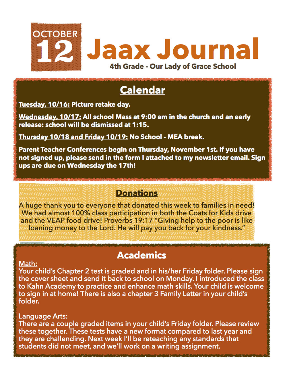 jaax journal our lady of grace catholic school