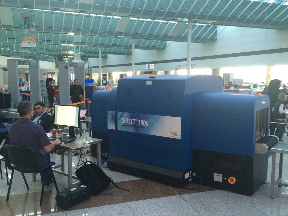 Security scanner being used for a pilot run in an airport in Istanbul