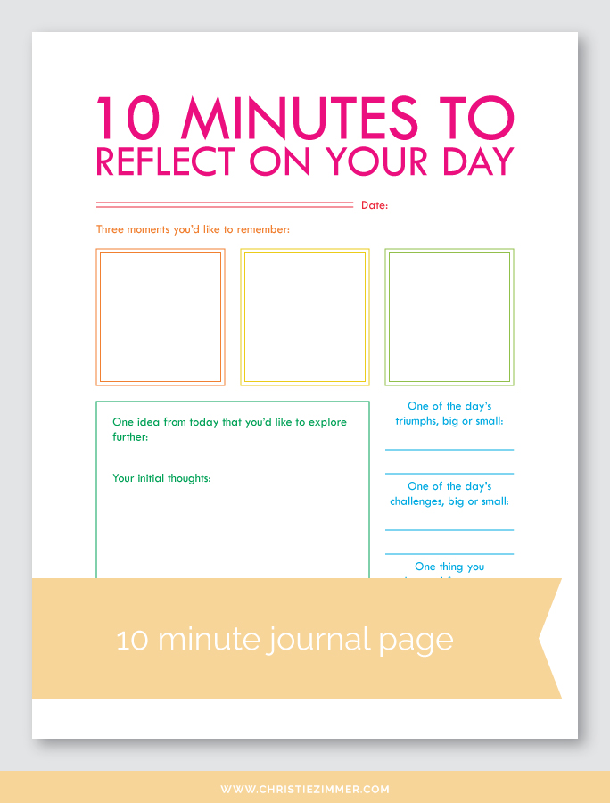 Reflect on your day (1) printable journal page - FREE!