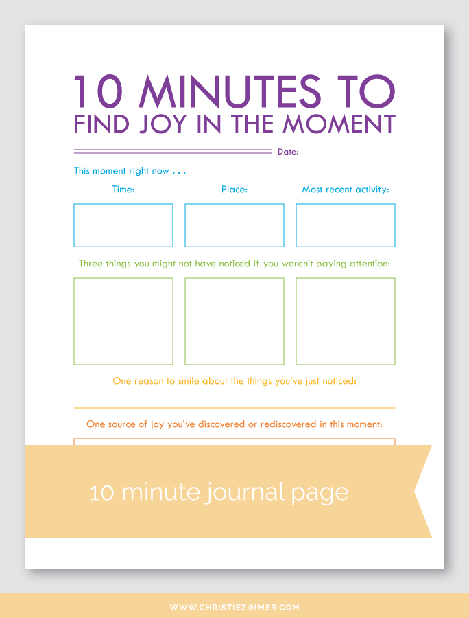 find Joy in the moment printable journal page - FREE!