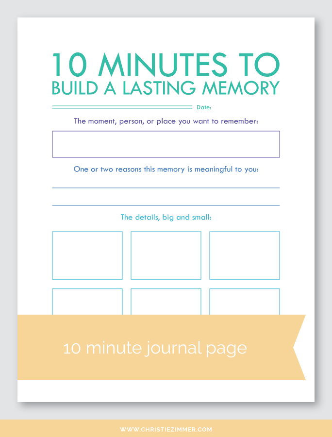 build a Lasting memory printable journal page - FREE!