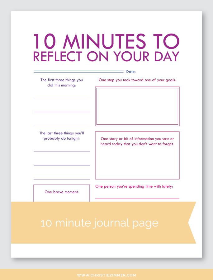 graphic relating to Printable Journal identified as Mirror Upon Your Working day (6) Printable Magazine Webpage Christie Zimmer
