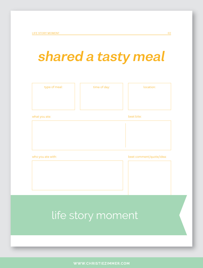 shared a tasty meal printable journal page - Free!