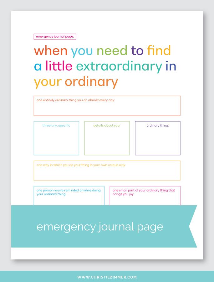 Ordinary extraordinary printable journal page - Free!