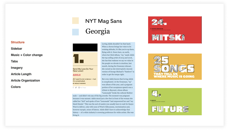 Typography - On the main content, NYT Mag Sans is used for artist info and article title, and Georgia is used for body text. For the site title and select article titles they use custom gif lettering over their sans serif.