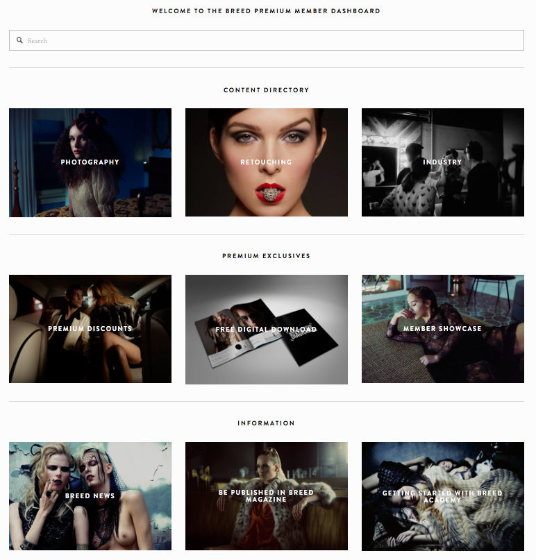 - INDUSTRY EXCLUSIVE CONTENT Breed members have access to in-depth blog posts, tutorials, insights and resources that are curated for serious fashion photographers by industry professionals. We believe there is no better way to learn than from those who have succeeded. Members will be granted access to the Premium Member Dashboard where they can connect and expand their knowledge of the working industry.