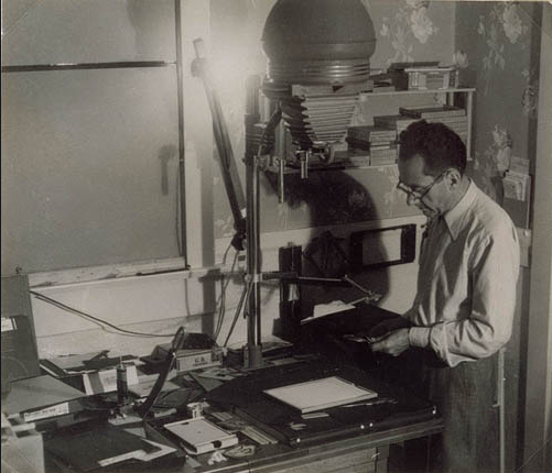 Man Ray in his darkroom on Vine Street