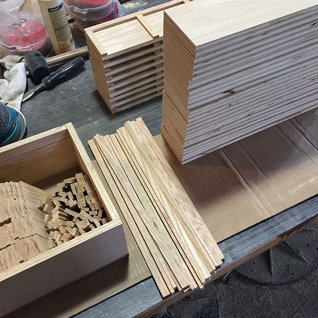 The parts are piling up. . . . #process #production #wood #redoak #parts #boxes #shelves #pos #retaildisplay #cincinnati #woodwork