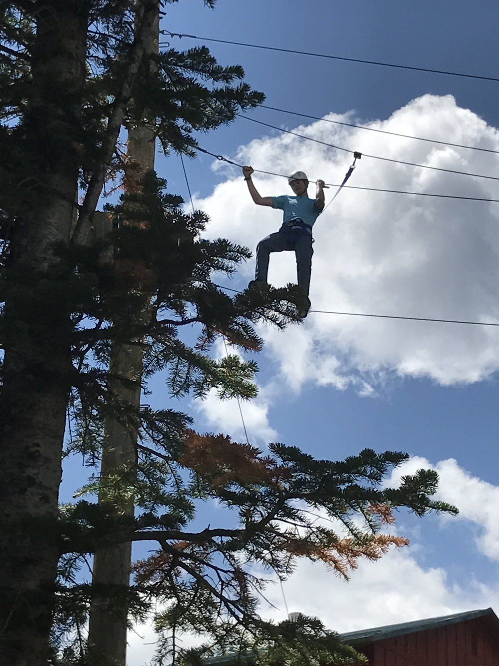 An LCS student participates in a ropes course on a school-sponsored trip to the mountains.