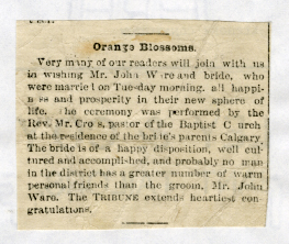 WARE WEDDING ANNOUNCEMENT CALAGARY TRIBUNE MARCH 2, 1892