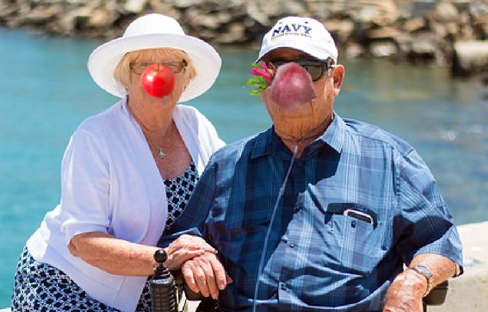 Enterprising Sion residents Bill and Elaine Crump donning improvised noses at Greve D'Azette this afternoon
