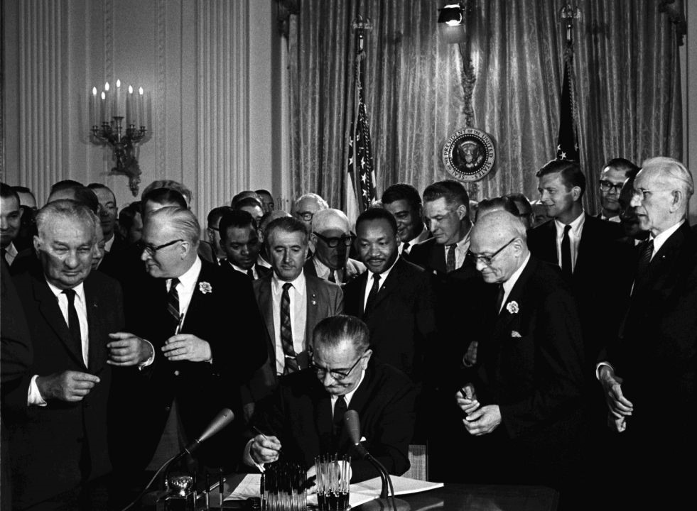 The signing of the Voting Rights Act