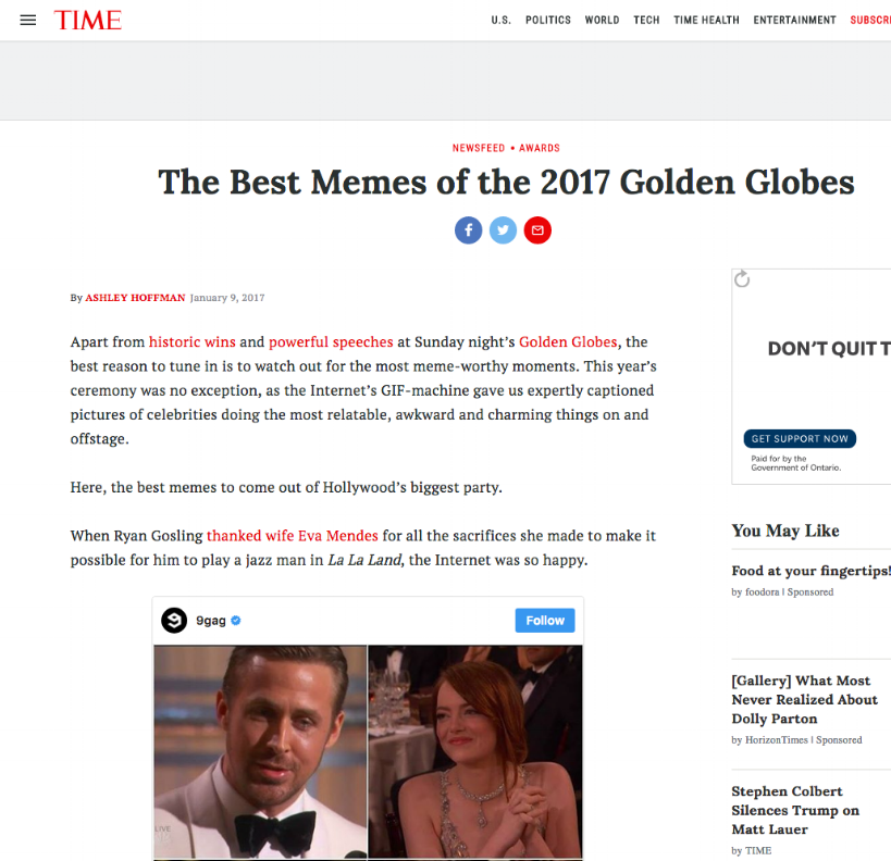 time - The Best Memes of the 2017 Golden Globes