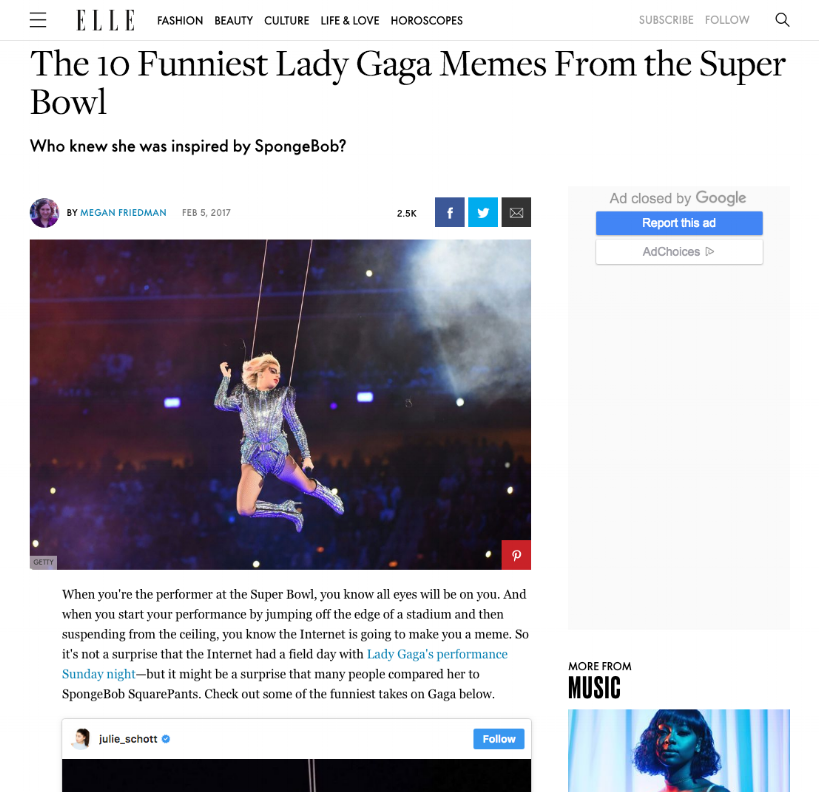elle - The 10 Funniest Lady Gaga Memes From the Super Bowl