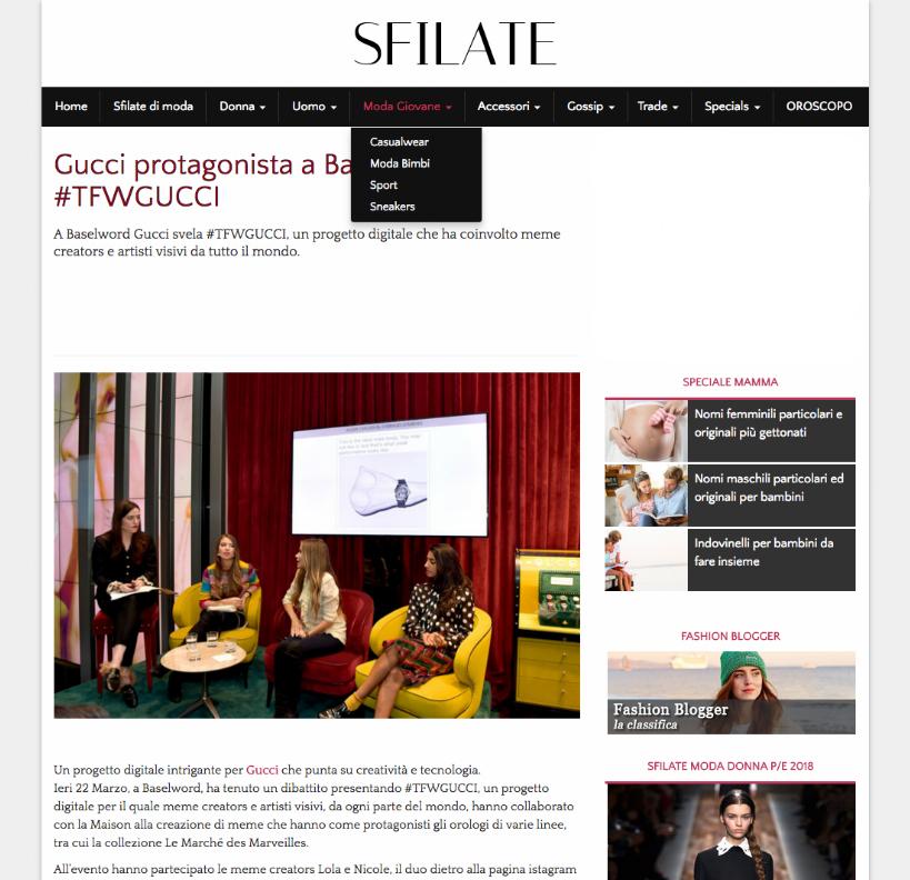 sfilate - Gucci protagonista a Basilea con #TFWGUCCI