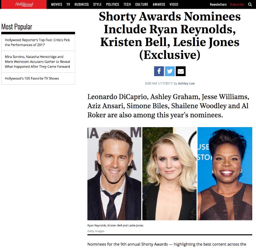 hollywood reporter - Shorty Awards Nominees Include Ryan Reynolds, Leslie Jones, @MyTherapistSays