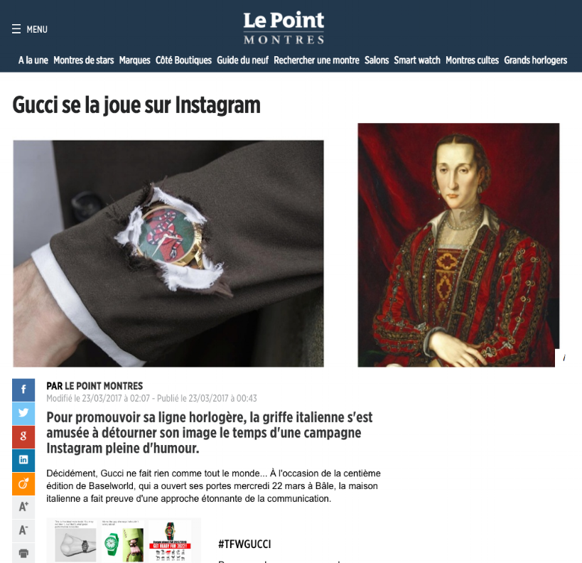 le point - Gucci se la joue sur Instagram