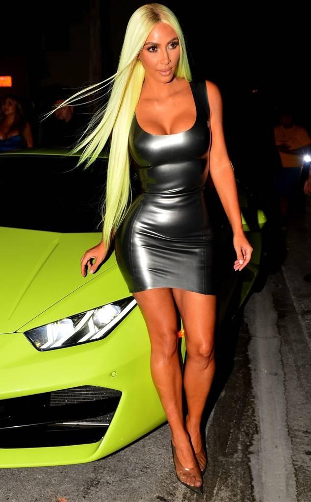 kim kardashian neon wig lamborghini